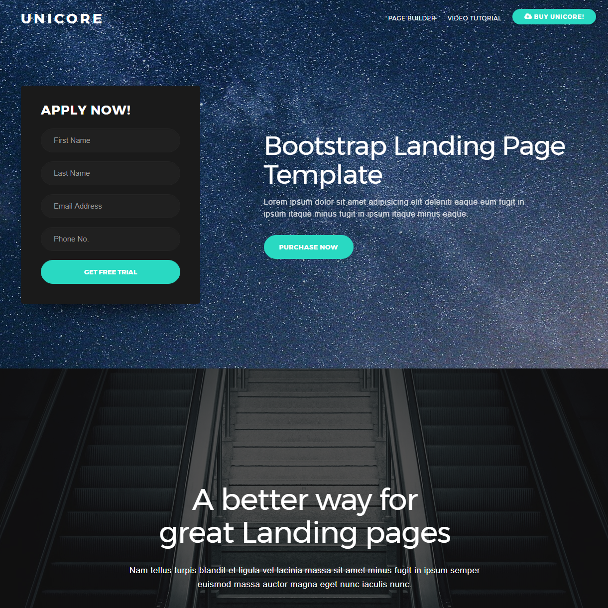 HTML Bootstrap One Page Templates